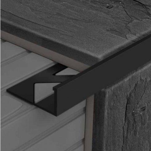 Alumínium L élvédő - 2500x8 mm szinterezett fekete